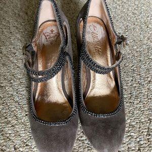 Miss Albright Grey Suede Beaded Heels